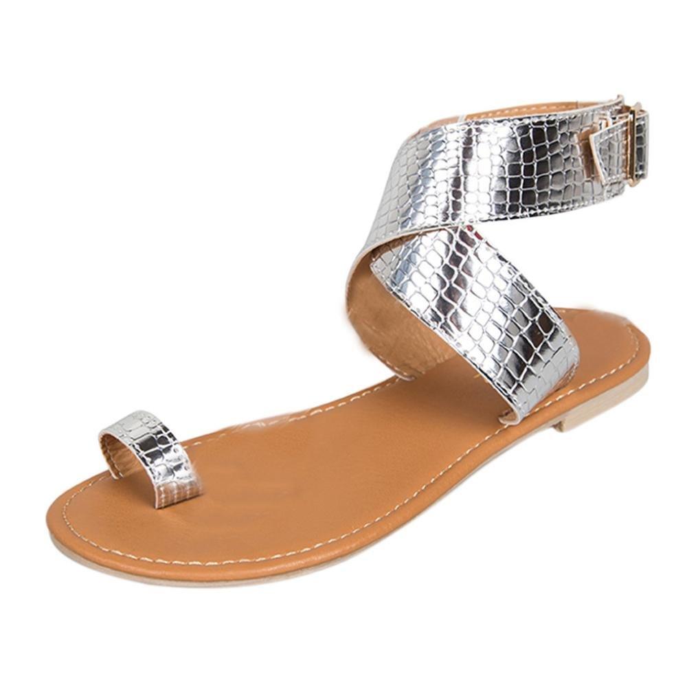 YANG-YI Clearance Women Cross Belt Strappy Gladiator Flip Flops Beach Sandals (Silver, US-9)