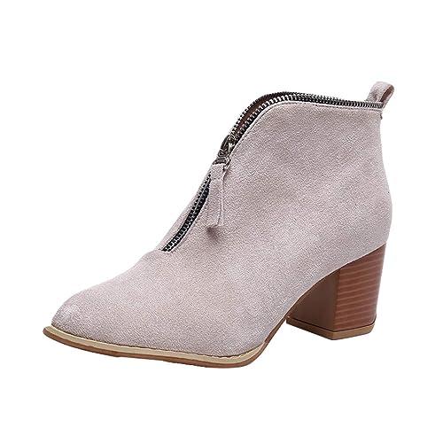 Mujer Botas Martin Moda Apuntado Botines Ocio Elegante Retro Botas Martin 3-5cm Zapatos de Tacón Medio Tamaño Grande, Cremallera Frontal Botas, ...