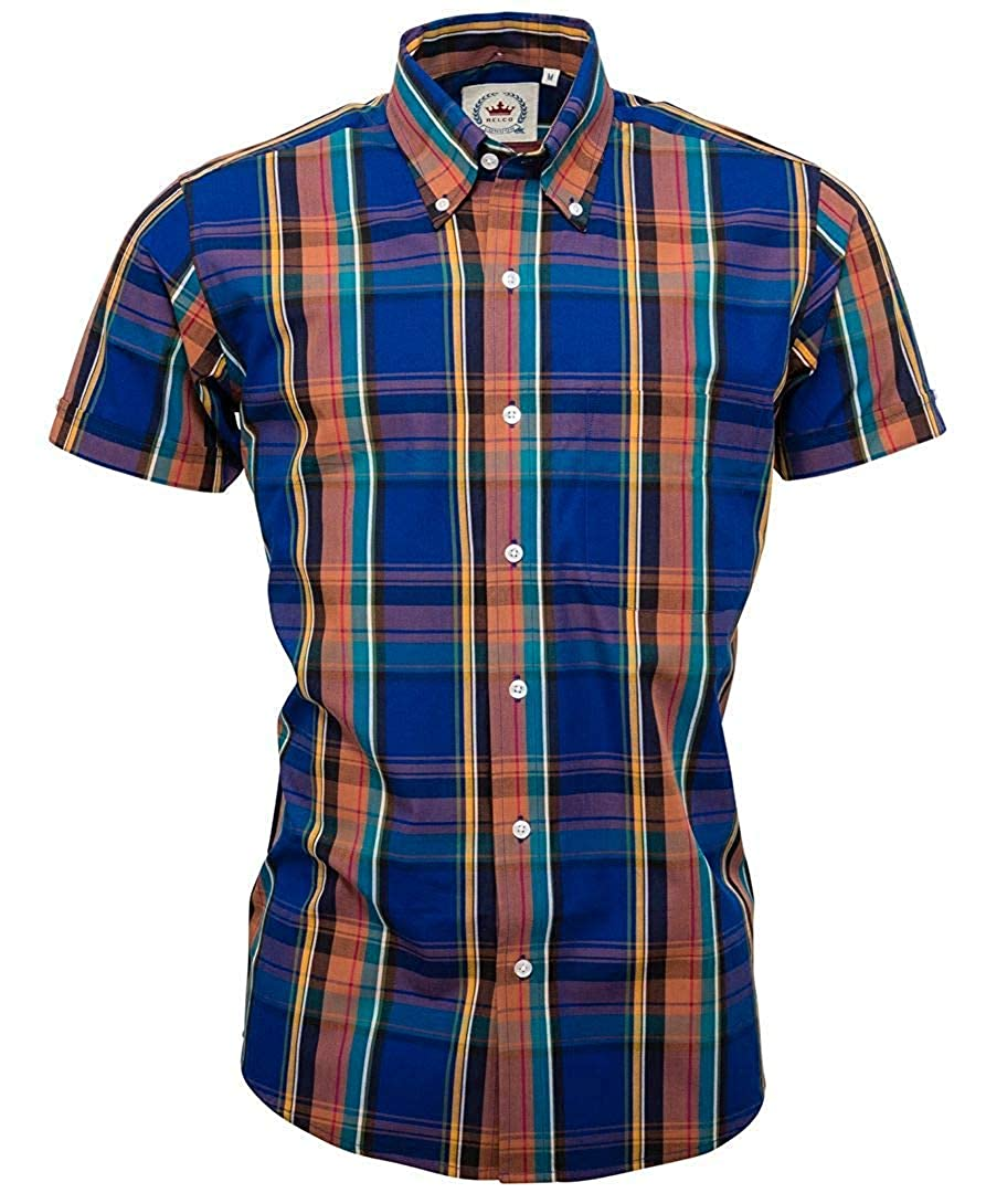 Relco Mens Check Short Sleeved Shirt Mod Skin Retro Indie Classic 60S 70S