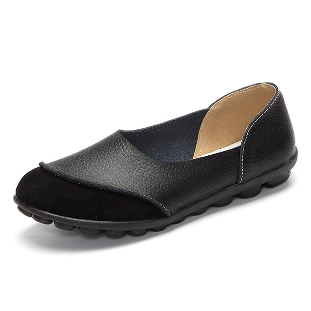 SCIEN Women's Casual Loafers Suede Leather Walking Slip-On Driving Moccasins Flats Shoes, Black 42