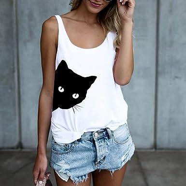 Moda Camiseta sin Mangas para Mujer Blusa Estampada de Gato Camiseta sin Mangas con Cuello en O 2018 ❤ Manadlian: Amazon.es: Ropa y accesorios