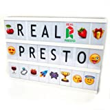 Lightbox: A4 Size Cinematic Lightbox With 85 Black Letters, 85 Colour Letters, 85 Exclusive Emojis, Bonus Symbols and USB Cable | LED Bright Light | Premium Plastic, Acrylic Material | Perfect For Night Lights, Bedrooms, Decorations, Birthday Parties