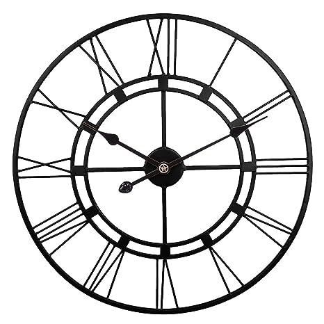 Orologio Ferro Battuto.Zuji Orologio Da Parete Vintage 60cm Orologio Da Muro In Ferro Battuto Orologi Da Parete Grande Decorativo Per Camera Cucina Ufficio Nero