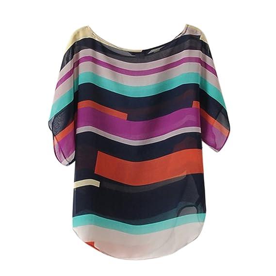 LHWY Moda 2017 Mujeres Blusas Camiseta Verano Perspectiva Casuales Sueltas De Gasa Tops (S)