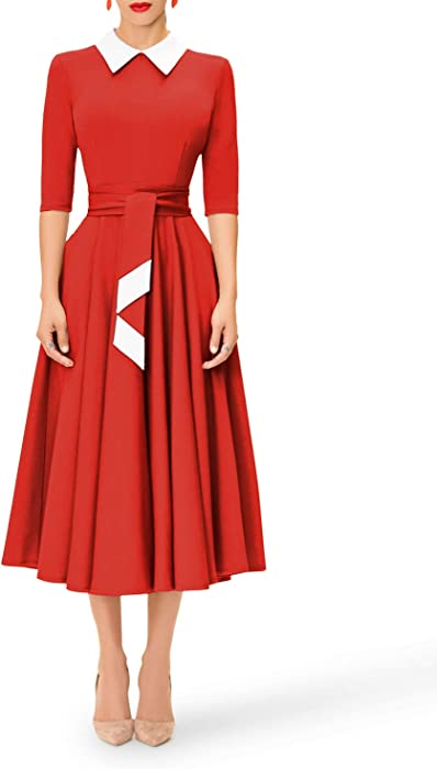 6e71d923af6a Women s 1 2 Sleeve Casual Peter Pan Collar Fit and Flare Skater Dress Below  Knee