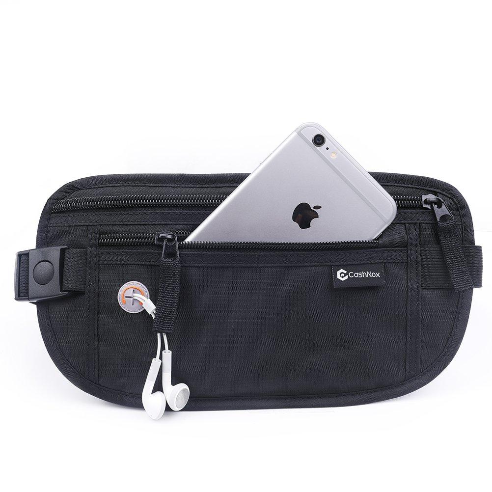 Negro Cinturón de dinero de RFID para viajar oculto viaje Bolsa de Cintura Cinturón de dinero de RFID