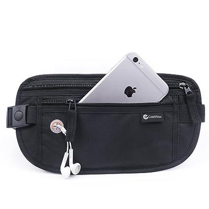 Cinturón de viaje para dinero - Riñonera Running Interior Discreta, Bolsa De Viaje Oculta con bloqueo de RFID - CashNox Cartera Cinturón para Hombres ...