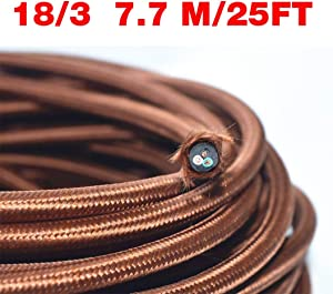 Coffee Brown 18/3 25 ft 3-wire Flat Cloth Covered Wire Antique Lamp Cord Cloth Electrical Cord 3 Core Round Cord, 18ga. Vtg Lamp Wire Antique