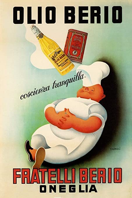 Chef Cook Dream Olio Oil Berio Fratelli Oneglia Kitchen Food Italy Italia  Italian Vintage Poster Repro