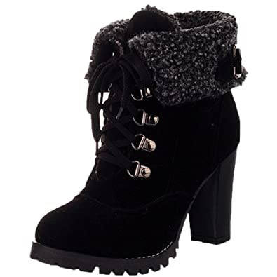 High Heel Lace-up Short Martin Boots By BIGTREE Women Comfortable Casual Ankle Boots