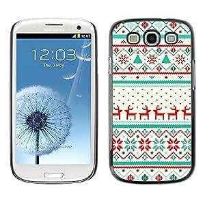 Caucho caso de Shell duro de la cubierta de accesorios de protección BY RAYDREAMMM - Samsung Galaxy S3 I9300 - Winter Pattern Reindeer Sweater
