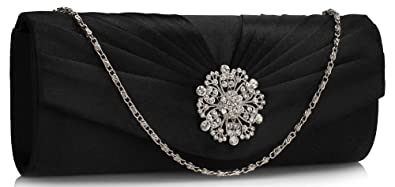 caeea3384c685 Ladies Satin Evening Clutch Bag Wedding Party Prom Floral Crystal Women  Handbags Pleated New Design