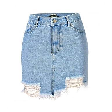 GYYWAN Cintura Alta Lápiz Jeans Falda Mujer Primavera Verano ...