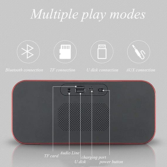 Amazon.com: Digital Alarm Clock TF Radio Porta di ricarica USB Radio Bluetooth Altoparlanti digitali Comodino con termometro Display a LED dimmerabile ...