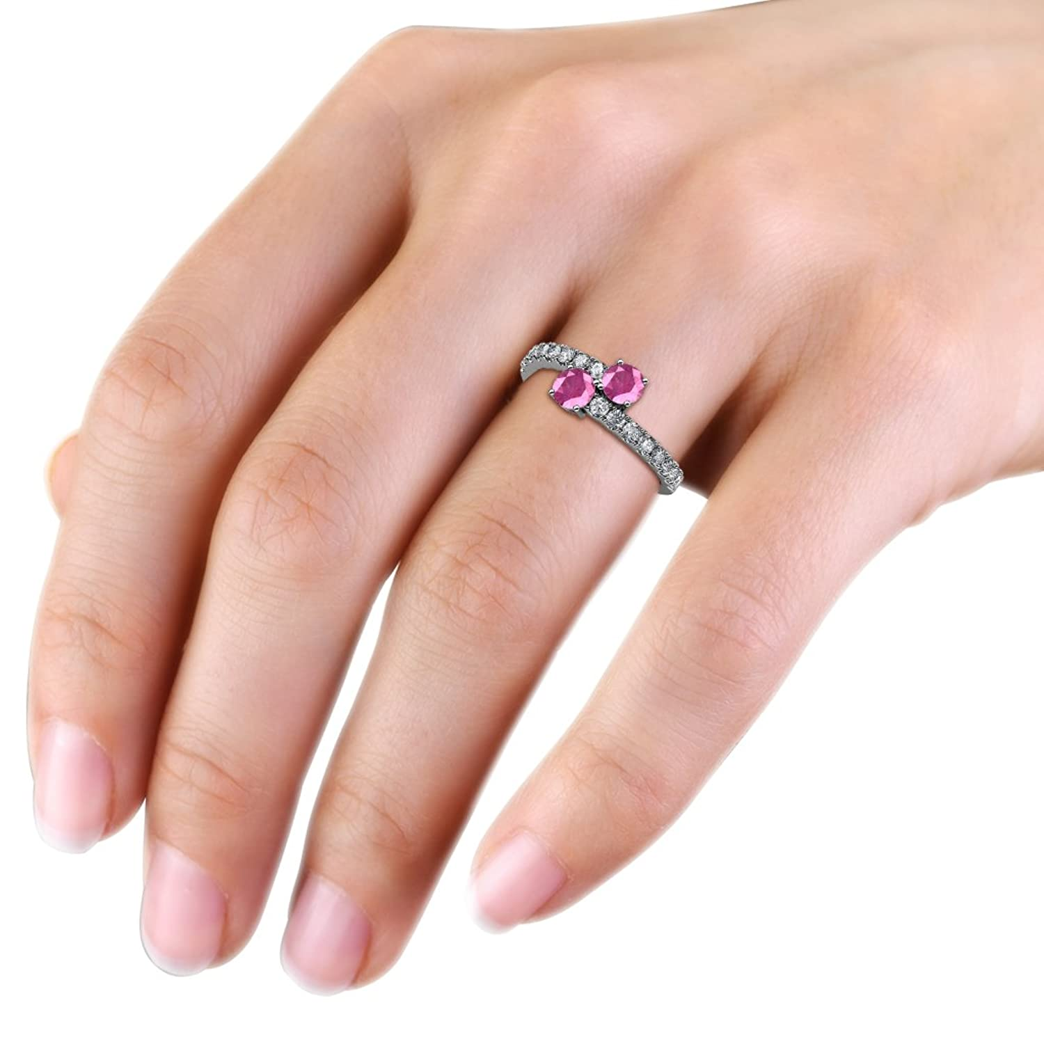 Pink Sapphire 2 Stone with Side Diamonds Bypass Engagement Ring 1.61 ...