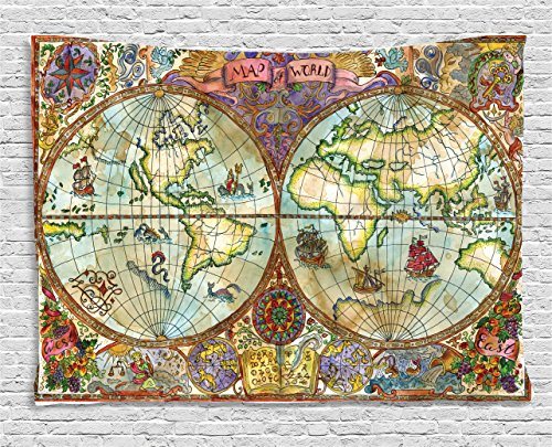 Ambesonne Watercolor Tapestry, Vintage World Map Antique Grunge Drawings Mystic Symbols Adventure Discovery, Wall Hanging for Bedroom Living Room Dorm, 80 W X 60 L inches, Multicolor by Ambesonne