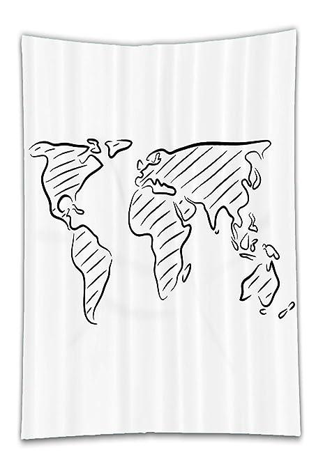 Amazon beshowereb fleece throw blanket decor illustration of an beshowereb fleece throw blanket decor illustration of an outline sketch of the world map in drawing gumiabroncs Gallery