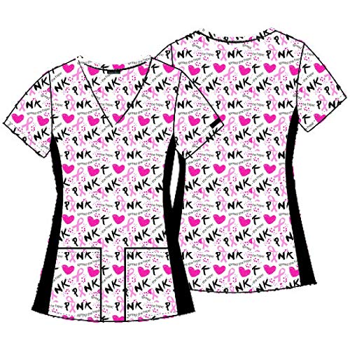 Cancer Awareness Ribbon Photo - DSF Uniforms V-Neck Side Panel Scrub Top, Breast Cancer Awareness Ribbons, XS