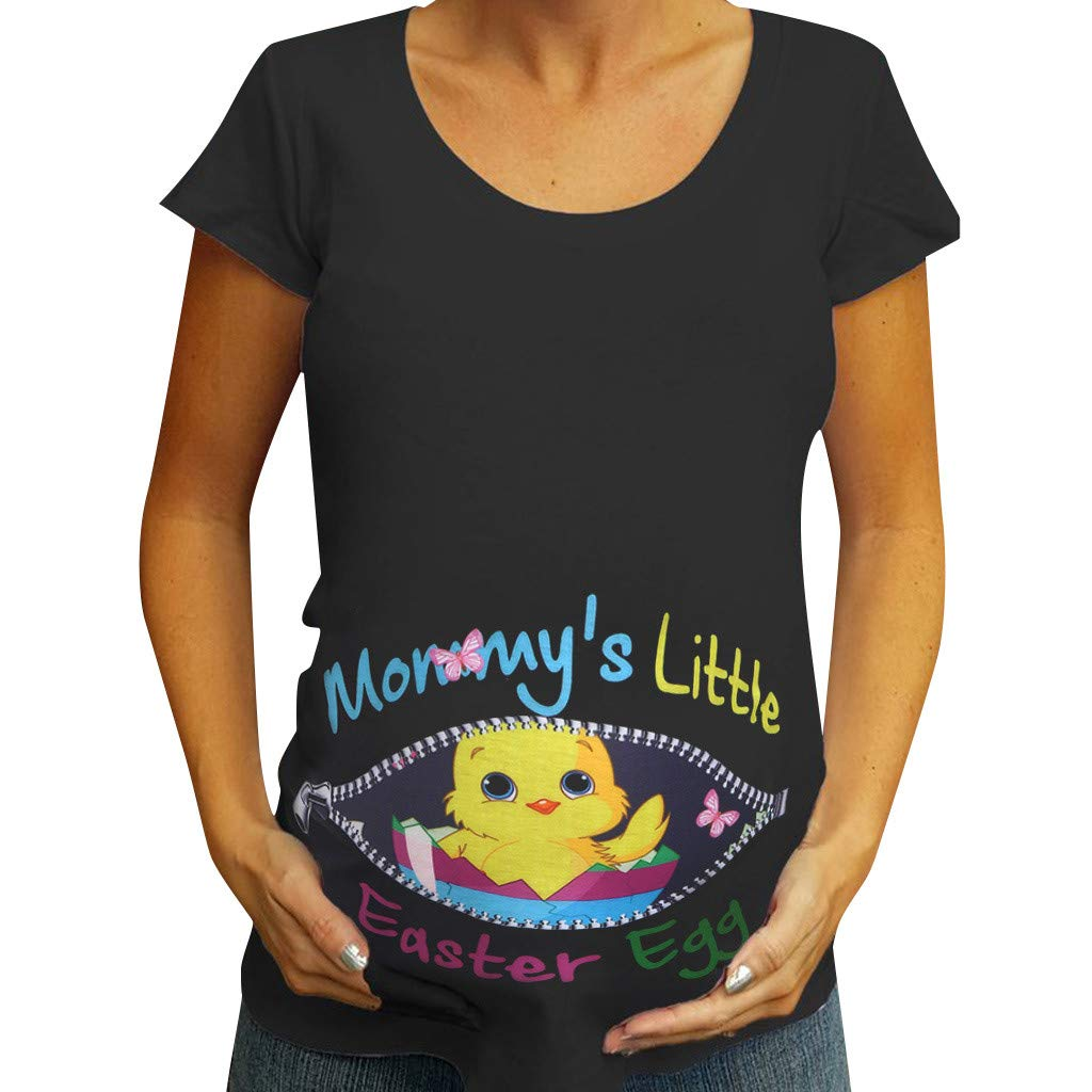 Winsummer Maternity Bumps First Easter Tshirt Adorable Easter Egg Chick Pregnancy Announcement Tee Black