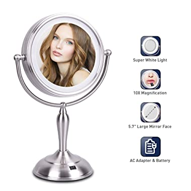 LED Makeup Mirror - 7.5 Inch Lighted Vanity Mirror, 1x/10x Magnifying Double Sided Mirror With Stand, AC Adapter Or Battery Operated, Natural White Light, Cord Or Cordless
