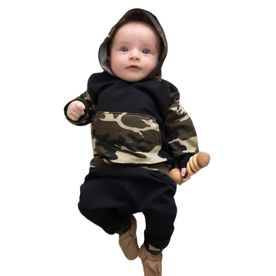 Sumen 2Pcs Baby Set Boy Camouflage Hooded Sweater Tops+Pants Outfits bessky