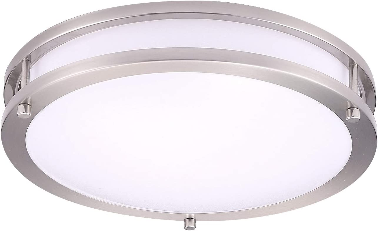 OSTWIN 12 Inch LED Flush Mount Ceiling Light, Dimmable Round Light Fixture, Brushed Nickel Finish, Plastic Shade, 20 Watts (120W Eq.), 1400 Lm, 3000K (Warm Light), ETL and Energy Star Listed