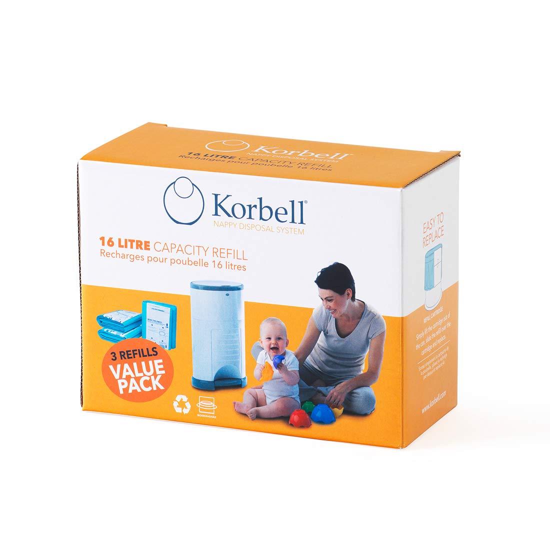 Korbell Nappy Bin Liner Refill 16L, 3-Pack by Korbell