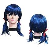 Peluca Sintética para Disfraces Personajes Talla Única Modelo LadyBug Coletas Azul Mujer (51639)