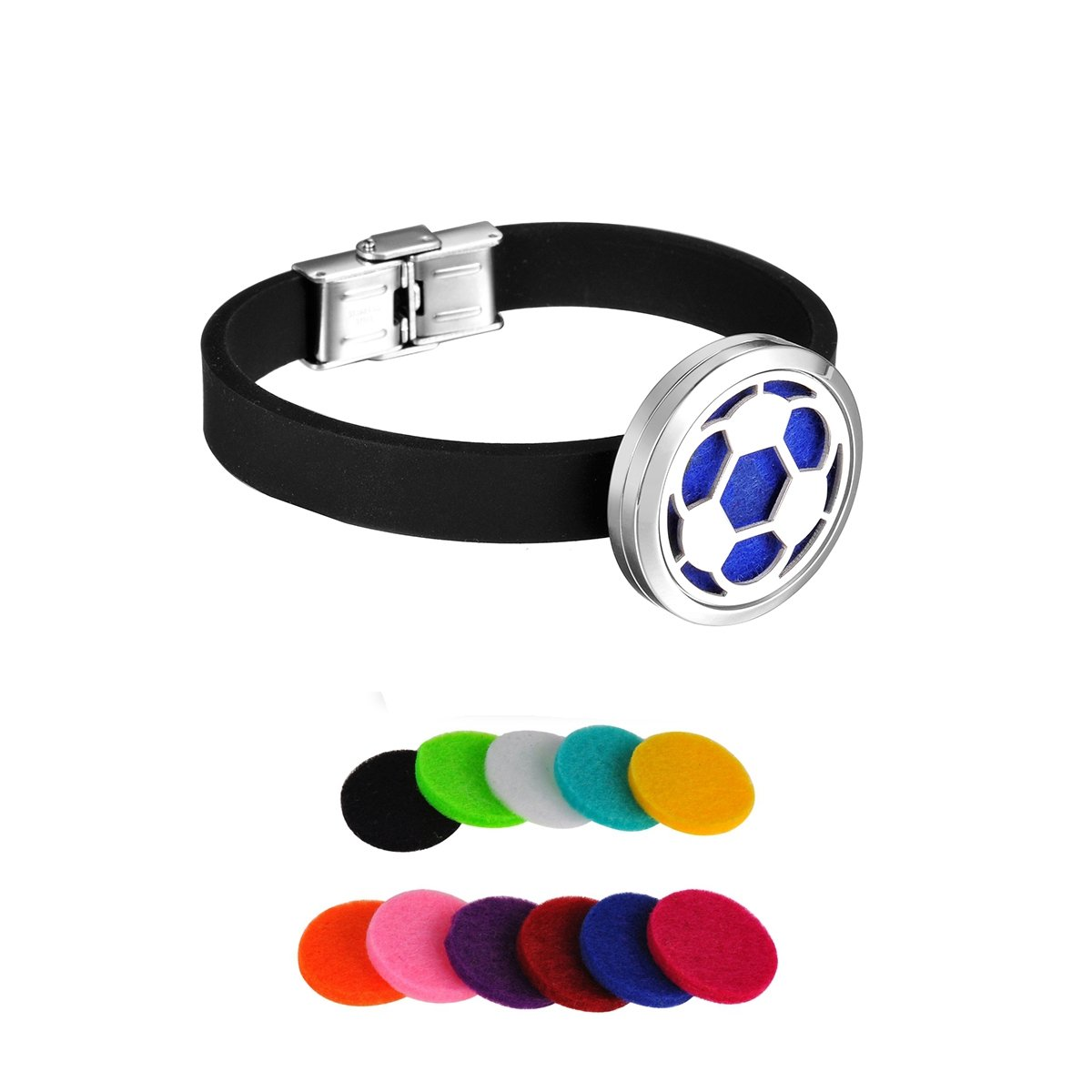 HooAMI Soccer Ball Aromatherapy Essential Oil Diffuser Locket Bracelet Silicone Chain TY EGBETY102641