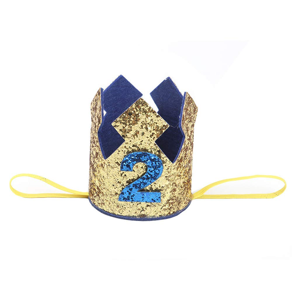 NUWFOR 1PC Boy Head Accessories Hairband Baby Elastic Brithday Number Crown Headwear(Gold,2)