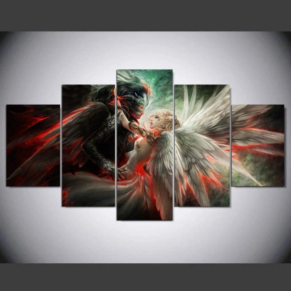 TOPJPG Custom Painting Pictures Angel and Demon Love Decoration Canvas Prints Wall Art Framework Modern Art Decor Bathroom Bedroom Kitchen Modular Framed Ready to Hang