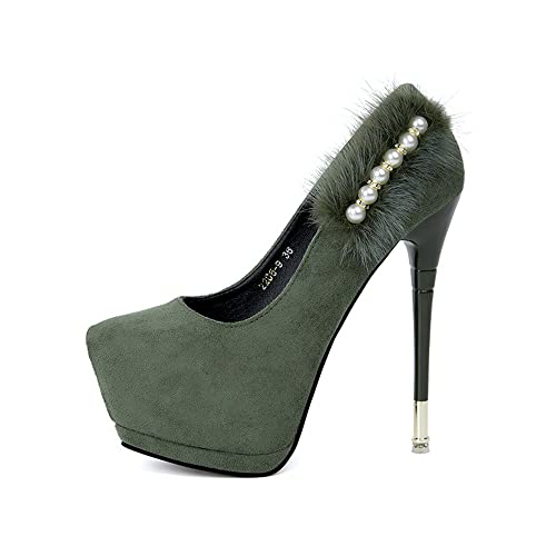 TYAW-Calzature Donna Tacchi Appuntita in Pelle Colore Solido Bordato Bocca Poco Profonda,Verde,37