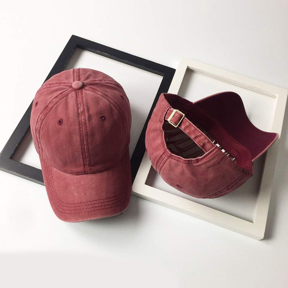 Unisex Vintage Washed Distressed Baseball-Cap Twill Adjustable Dad-Hat (Z-2pc (Black+Burgundy)) by Mommy Jennie (Image #4)