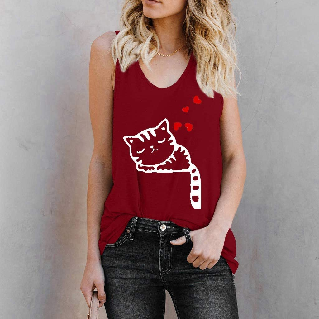 Vedolay Women Tank Tops Womens Crop Top Fashion Cat Printed Shirts Sleeveless Workout Blouse Loose Soft Camisoles Tee