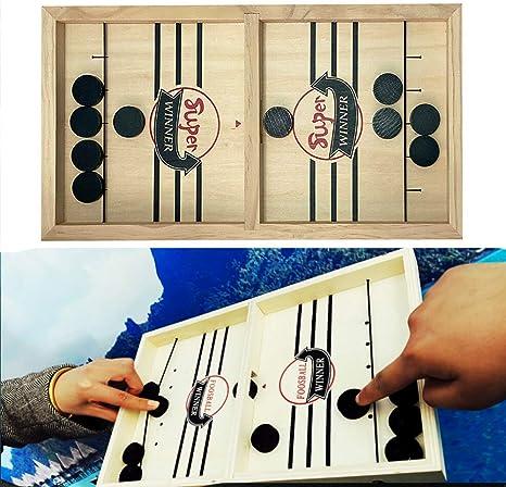 AETOSES Juego de Mesa Fast Sling Puck, Juegos de Mesa de Ritmo Sling Puck Winner, Juegos de Mesa portátiles de Madera con múltiples mesas de Interior para niños y familias: Amazon.es: Deportes