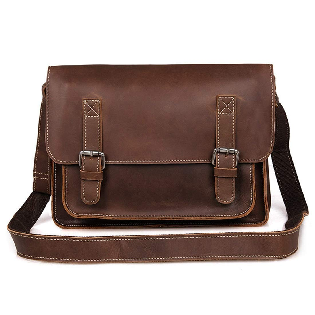 KRPENRIO Mens Messenger Shoulder Bag Vintage Leather Briefcase Crossbody Day Bag for School and Work Color : Dark Brown
