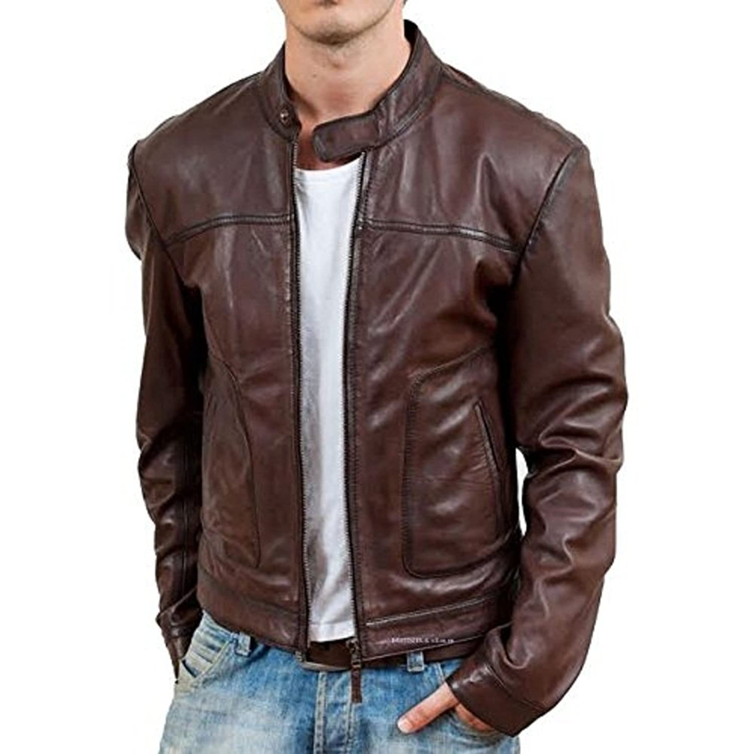 Iftekhar Men's Pure leather Jacket - Brown - (Iftekhar35): Amazon ...
