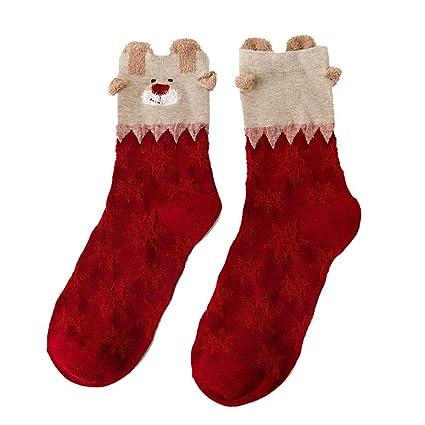ZHRUI Calcetines de Navidad Cálidos Patter Lindos Confort Calcetines encantadores Casuales (Color : Blanco,