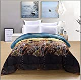 3 Piece Soft Microfiber Box Stitched Comforter Sets 3D Leopard Print Color Fade Resistant Queen Size For Sale