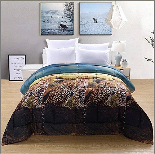 Unique Home 3D Leopard/Cheetah Prints All Season Goose Down Alternative Comforter Box Stitched,Hypoallergenic, Plush Fiberfill Duvet Insert (Leopard, Queen) (Inc Bedding Cheetah)