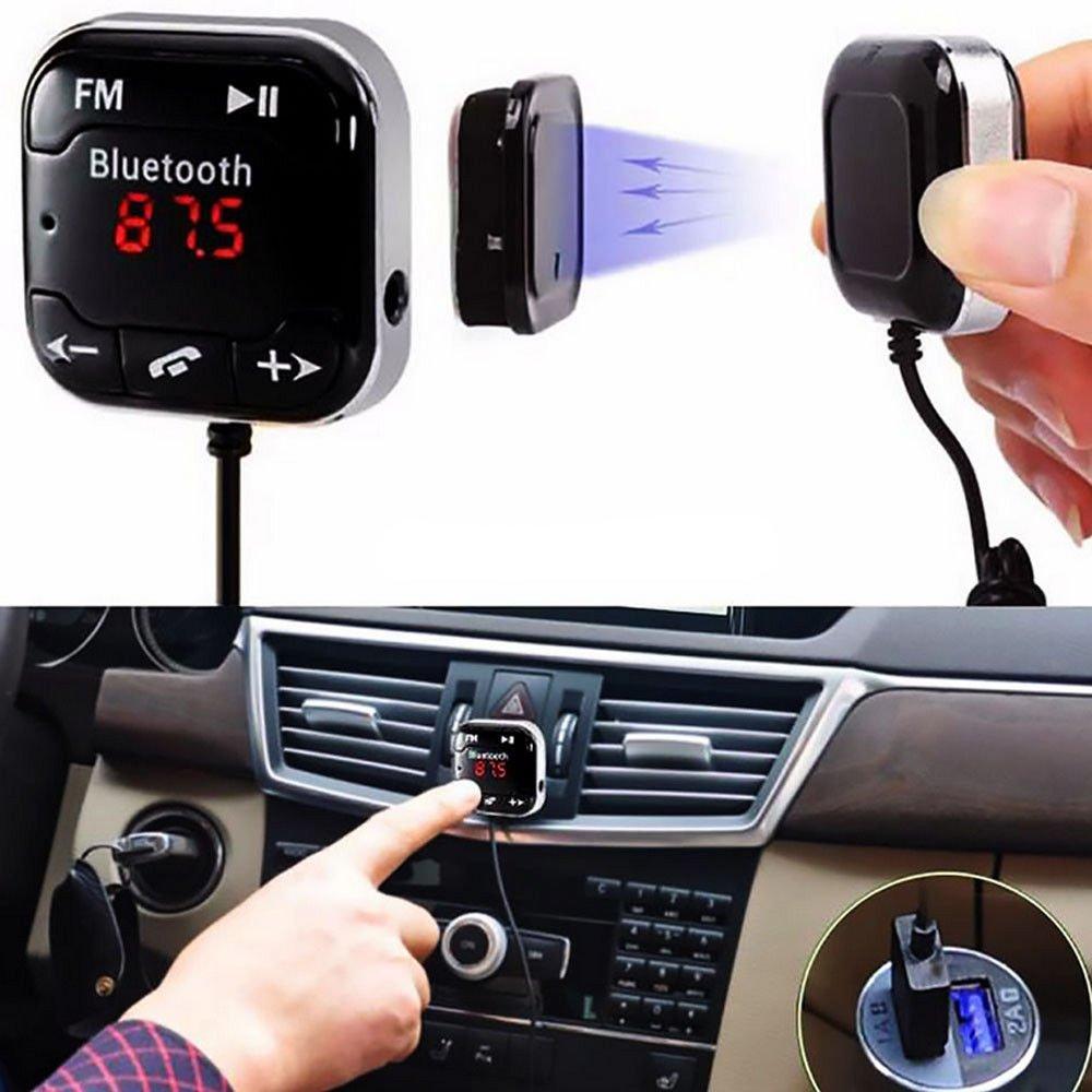 FidgetFidget ワイヤレス Bluetooth FMトランスミッター カーキット MP3プレーヤー USB SD LCDリモートハンズフリー   B07FQNY51F