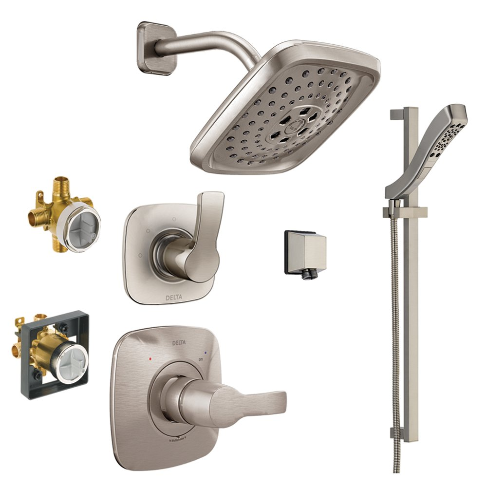 Brilliance Stainless Delta KS14252-DRH51-SS Tesla 14 Series Shower Kit with Slide bar Hand Shower and Rough-in