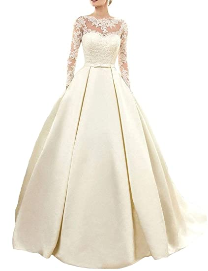 HUINI Vintage Sheer Long Sleeves Lace Wedding Dresses Corset Bridal ...
