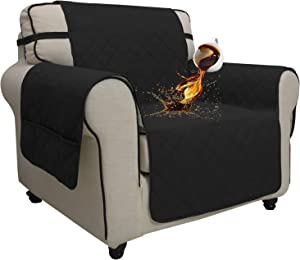 Easy-Going Sofa Slipcover Chair Cover Waterproof Couch Cover Non-Slip Sofa Cover Seamless Whole Piece Fabric Furniture Protector for Pets Kids Children Dog Cat (Chair, Black)