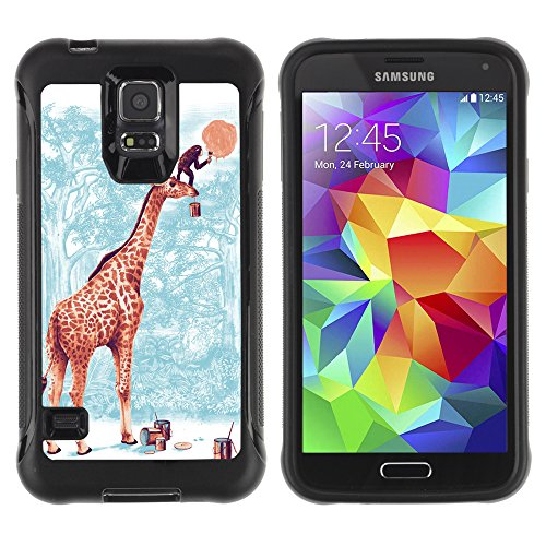 Hybrid Anti-Shock Defend Case for Samsung Galaxy S5 / Giraffe & Monkey Painting Moon
