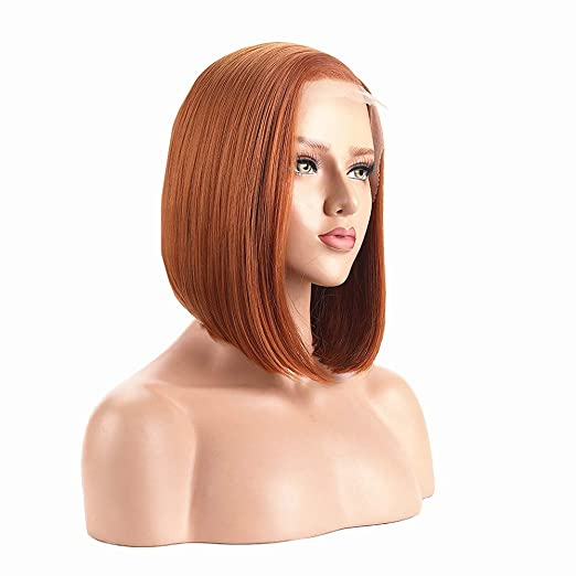 Alice Lace Front Wigs Copper Orange Bob Wig 14 Short Ginger Wig Natural Straight Synthetic Full Wig For
