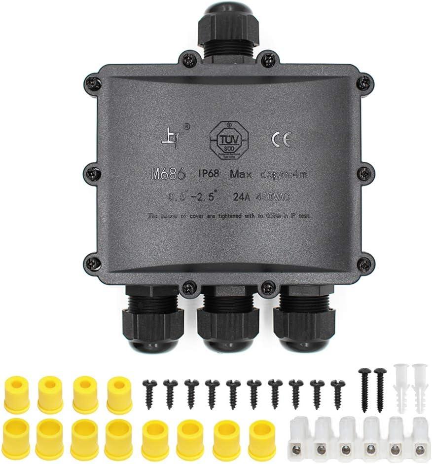 noir Huyu IP68/ Bo/îte de jonction ext/érieure /étanche Bo/îte de jonction /électrique externe /à 2 voies pour 5/mm-12/mm