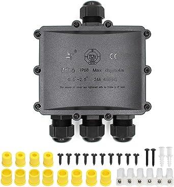 Huyu IP68 resistente al agua caja de derivación conector externo caja de derivación eléctrica de 2 Vías para 5 mm-12 mm, negro: Amazon.es: Iluminación