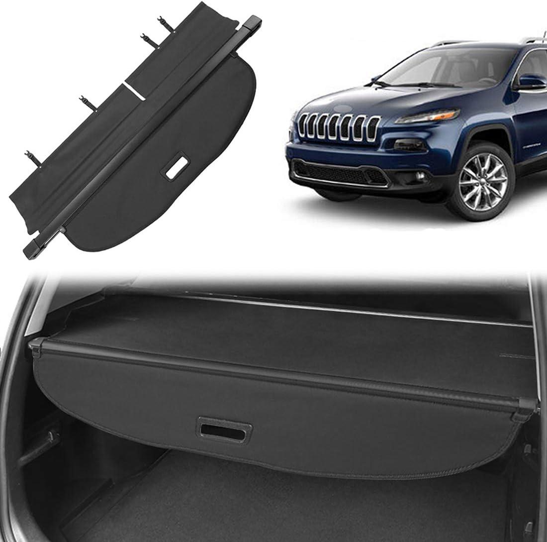 Orealtool Laderaumabdeckung Kofferraum Schutz Abdeckung Cargo Cover Für Jeep Cherokee 2014 2018 Schwarz Ausziehbar Kofferraumabdeckung Rollo Auto