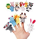 Zest 4 Toyz 10pcs Cute Animal Finger Puppets Set for Baby, Infant, Toddlers, Kids, Story Time, Shows, Playtime, Schools (10pcs)-Assorted Color Design